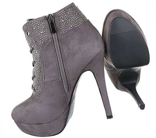 Damen Schuhe Stiefeletten Stiefel High Heels Stiletto Plateau Ankle Boots Grau Grau