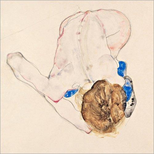 Poster 30 x 30 cm: Akt mit blauen Strümpfen von Egon Schiele - hochwertiger Kunstdruck, neues Kunstposter