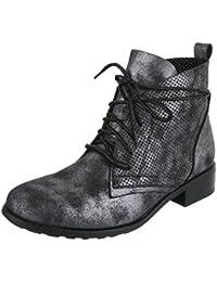 Cingant Woman Damen Schnürstiefeletten/Schnürer/Knöchelhohe Stiefel/Halbhohe Stiefel/Blockabsatz/Nieten/Metallisch/Silber, EU 36