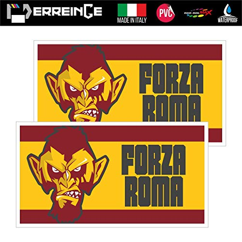 erreinge Sticker x2 Roma Ultras Supporters Bandiera Adesivo Sagomato in PVC per Decalcomania Parete Murale Auto Moto Casco Camper Laptop - cm 12