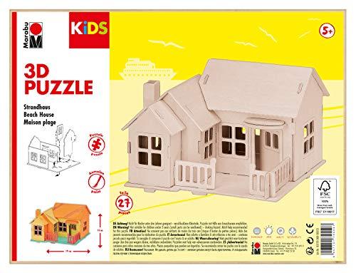 Marabu 0317000000013 Kids - Puzzle en 3D (27 Piezas, 19 x 14 cm), diseño de casa de la Playa, Color marrón