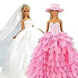 Miunana 2 Vestiti per Barbie Dolls Ed Altre Bambola = Sera Party Principessa Abbigliamento Abito da Sposa Lungo Senza Spallini con Corona E Velo + Abito A Scale Colore di Rosa con Cappello