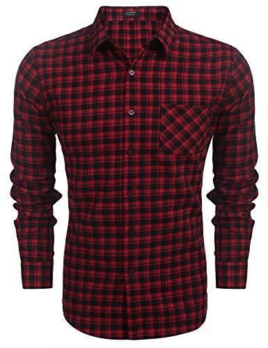 COOFANDY Kariertes herren Langarmhemd Slim fit Freizeithemden Karohemd Manschette mit Stickerei Hemden männer Business Casual bügelleicht -