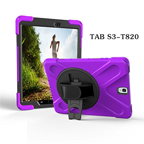 Aprigy - F¨¹r Tab S3 SM-T820 Kids Safe STO?- Heavy Duty Silikon-Harte Fall-Abdeckung f¨¹r Samsung Galaxy Tab 9.7 S3 T820 T825 Hand Halten [Lila ]