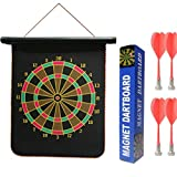 higadget Double Faced Portable Foldable Magnetic Dart Game with Colourful Non-Pointed Darts, 12-inch (Black)-4 Pieces