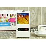 Casefashion® Funda de Piel con Soporte Ventana para Samsung Galaxy Note 3 N9000 Carcasa Protectora Case Cover PU Cuero (Blanco)