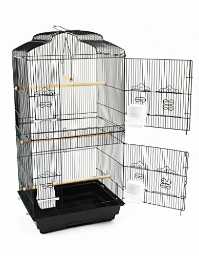 Easipet Large Metal Bird Cage for Budgie, Cockatiel, Lovebirds etc (Black) 2
