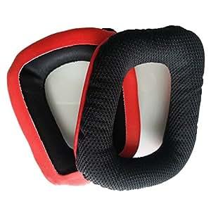 Paire de coussinets de rechange en mousse souple en maille respirante–Casque Coussinets d'oreille coussins pour Logitech G35G930G430(Rouge + Noir)
