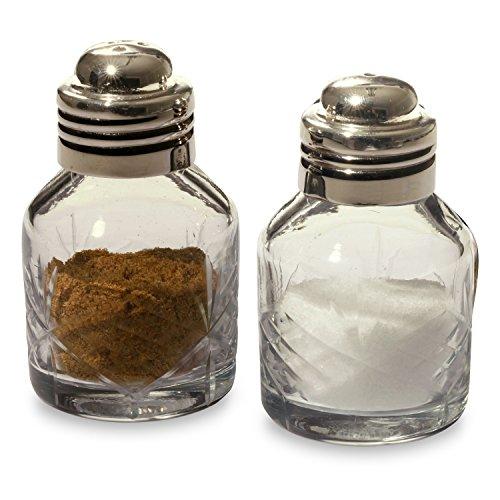 Loberon Salz- und Pfefferstreuer Marly, Glas/Messing, H/Ø ca. 6,5/3,5 cm, klar