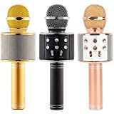 US1984 2017 Karaoke New Microphone Wireless, Portable Handheld Singing Machine Condenser Microphones Mic And Bluetooth Speaker Compatible with iPhone/ iPad/ iPod/ and all android smartphones.