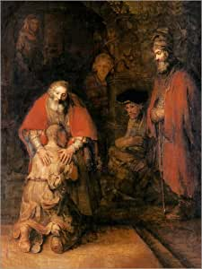 Poster 100 x 130 cm: Return of the Prodigal Son by Rembrandt van Rijn art print, new art poster