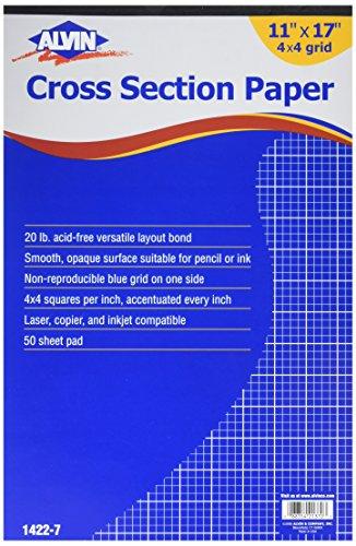 Alvin 1422-7 Papier Querschnitt 11x17x4 Pad (Graph-pad-11x17)