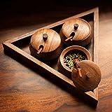 #9: Sheesham Wood Triangular Jar Set with Tray and Spoon (25.9 cm x 22.4 cm x 6.1 cm, Brown, Set of 3)