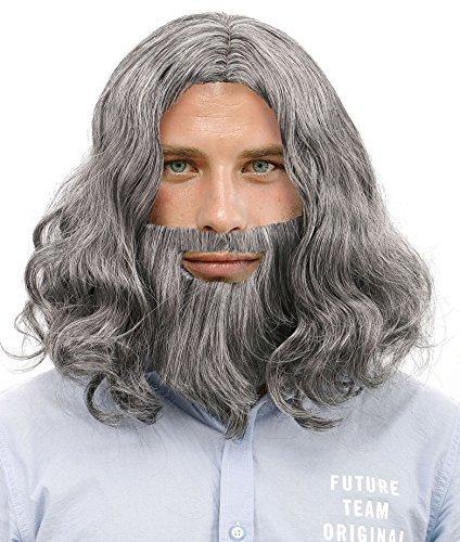Herren Cosplay Kostüm Bibel Jesus Perücken und Bart Set, grau