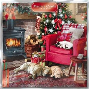 GBCC Medici Charity Christmas Cards - Cosy Christmas (5330) - Pack of 8 Cards Sold In Aid of Marie Curie Cancer Care, Parkinsons, Oxfam, CLIC Sargent, Macmillan Cancer Support and RNLI