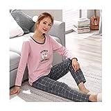 TENGTENGCAI Schlafanzug Set Frauen Baumwolle Langarm-T-Shirt Mit Hose Frauen Nachtwäsche Graue Hose XL