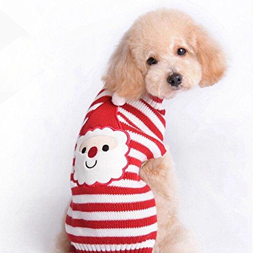 LQZ Haustierkostüm Haustier Pullover für Katze und Hunde Strick Winter Kleidung Strickjacke Rot Nikolaus