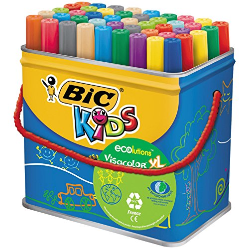 BIC-Kids-Visacolor-XL-ECOlutions-Feutres-de-Coloriage–Pointe-Large-Couleurs-Assorties-Pot-de-48