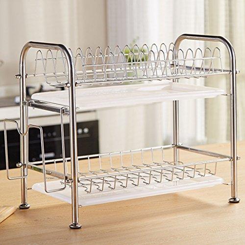 WFL Home-Storage-Organizer Edelstahl Teller Racks 2 Reifen Küche Regal Utensilien Zubehör Lagerung Rack Drain Rack Schüssel Regal 40,5 * 25 * 38CM Mehrzweck (Color : A, Size : 40.5 * 25 * 38CM) (Rack Reifen-lagerung)