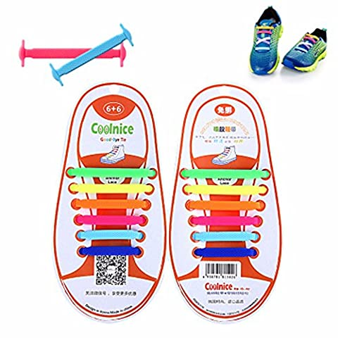 AOSHANG No Tie Shoelaces for Kids and Adults - Sports Shoelaces Waterproof Silicon Flat Elastic Athletic Running Shoe Laces with Multicolor for Sneaker Boots Board Shoes and Casual Shoes