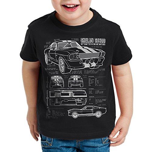 style3 GT 500 Blaupause T-Shirt Kinder mustang, Farbe:Schwarz;Größe:104 (Ford-kinder-t-shirt)