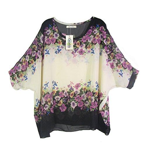 Imixcity®Bohème Hippie Batwing Manches en Mousseline de Soie Blouse Ample Encolure Shirt … Imixcity