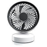 CSL - Tischventilator / Ventilator mit Standfuß | Leises Betriebsgeräusch / nur max. 45dB (A) | Ein/Aus-Schalter | Energie-sparend (nur 3,5W) | Ca. 25° neigbar (einstellbarer Winkel) | Hoher Luftdurchsatz | weiß matt / schwarz