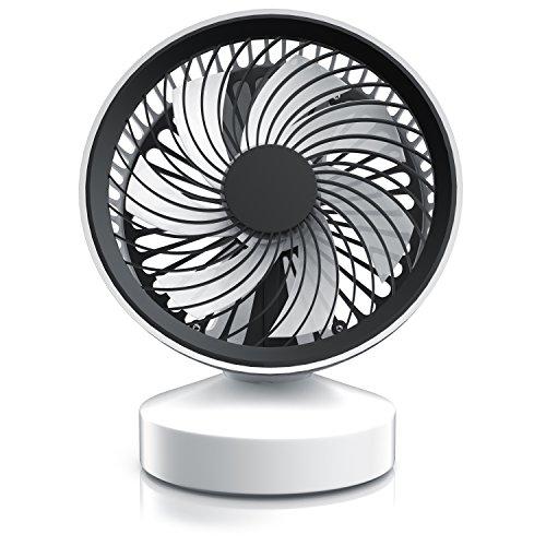 CSL - Tischventilator Ventilator mit Standfuß - Leises Betriebsgeräusch - nur max. 45dB - Ein Aus-Schalter - Energie-sparend nur 3,5W - Ca. 25° neigbar einstellbarer Winkel - schwarz weiß