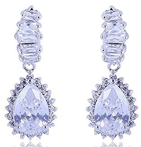 SaySure - 10KT White / Yellow Gold Filled Earrings Sapphire Dangle Drop