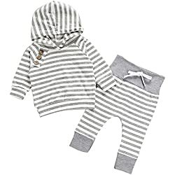 Kukul Ropa para Bebé Niños y Niñas Camisetas de manga larga + Pantalones Conjuntos (0-6 meses)