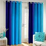 Super India Long Crush Solid 2 Piece Polyester Door Curtain Set - 7ft, Blue
