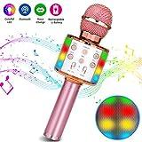 Microfono Karaoke,Bluetooth Wireless LED Flash Microfono Portatile Karaoke Player per Adulti e Bambini Compatibile con Android/ios PC e Smartphone(Oro rosa)
