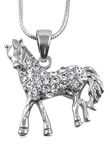 ilber Ton Pferd Pony Charm Halskette mit Kristallen für Damen, Teenager und Mädchen von Glamour Girl Gifts Collection (Baby Bumble Bee Halloween-kostüm)