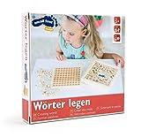 Wörter legen, Lesespiel aus Holz, Lernhilfe für erste Lese-und Schreibversuche mit 145 Buchstabenwürfeln, geeignet für Kinder ab 6 Jahren