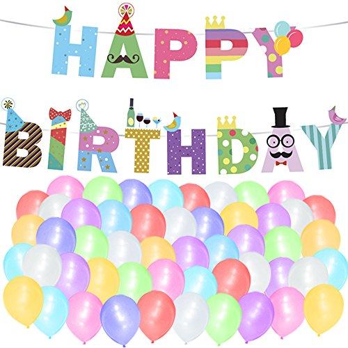 """Sterling James Co. Paquete de Globos y Guirnalda """"Happy Birthday"""" (Feliz Cumpleaños) para Celebraciones Artículos, Ideas y Decoraciones de Cumpleaños Infantil"""