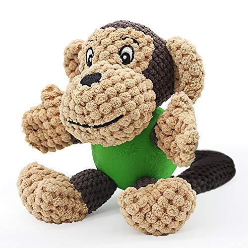 Hundespielzeug Welpe Quietschspielzeug Plüsch Kauspielzeug Interaktives Spielzeug Robust Stofftier Zahnreinigung für Welpe Kleine Mittlere Hunde(Affe)