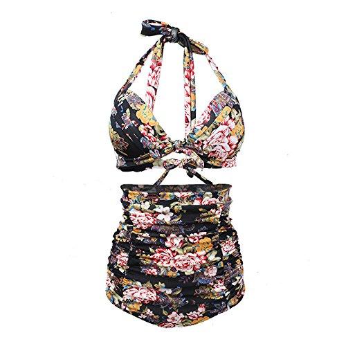 Liyanqin Impresión Nudo de Corbata Frente Cintura Alta Vendaje Paded de Dos Piezas Bikini Establece Ropa de Playa (S-XXXL) (Color : Negro, tamaño : XXXL)