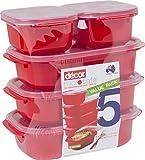 Decor® X5auslaufsicher und Crack Proof, Hohe Festigkeit Meal Prep Food Container–Set of 5rot Mikrowelle, Geschirrspüler und Gefrierschrank Sicher–Ideal für Mahlzeiten und Abendessen Prep