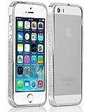 iPhone 5 Case - Diamante Bumper Cover for the iPhone 5 / 5s / SE, Silver / White