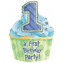 Torta di compleanno Blu inviti e buste tagliate, Pachetto di 8