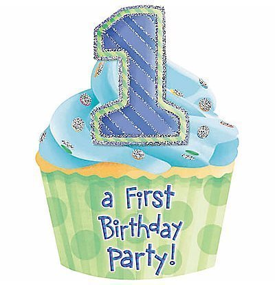 Attractive Jumbo Die-cut Cupcake 1st Birthday Invitations Cards And Envelopes, Pack Of 8, Blue