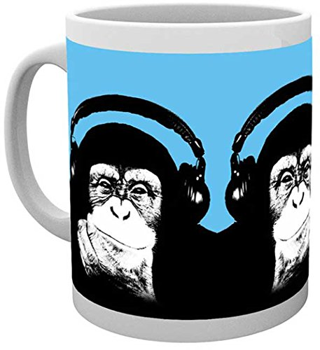 empireposter - Steez - Monkey - Größe (cm), ca. Ø8,5 H9,5cm - Lizenz Tassen, NEU - Beschreibung: - Style with ease – Affe mit Kopfhörer – Keramik Tasse, weiß, bedruckt, Fassungsvermögen 320 ml, offiziell lizenziert, spülmaschinen- und mikrowellenfest -