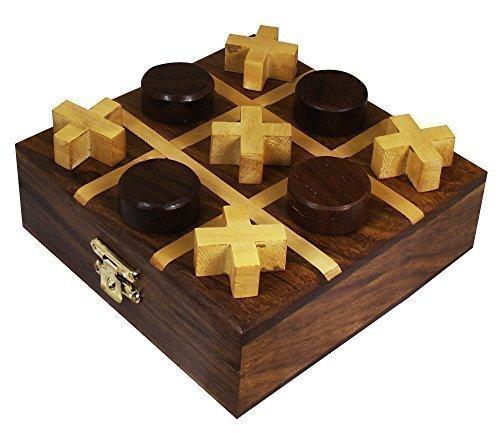 Tic Tac Toe Spiel Reisespiele Holz Brettspiel Reise Nullen und Kreuze Spiel Handgemacht - 11,5 Cm