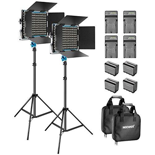 Neewer Kit de 2-Pack 660 LED Video Luz Regulable Bi-color con Parasol y 1,83-centímetro Soporte de Luz,4-Pack 6600mAh Battería Li-ion Recargable y Cargador para Fotografía Estudio YouTube Video(Azul)
