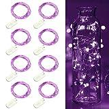 Lila LED Lichterketten 20 LEDs Draht Lichterketten mit Knopf Batterie Sternenlichter Weihnachtsfeier Hochzeit Flasche Tischdekoration 8er Pack