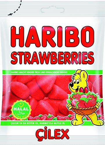 Haribo 10 x 80g Strawberries Erdbeeren Helal Gummibärchen Fruchtgummi Weingummi Süßigkeiten...