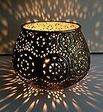 Windlicht Tischlicht Teelichthalter gold Eisen Ø 13 cm • 9