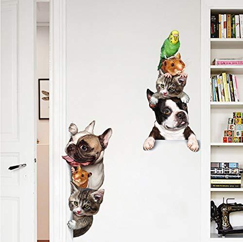 WFYY Cartoon Tiere 3D Wandaufkleber Katzen Hunde Maus Vögel Tür Aufkleber Lustige Dekoration Kinderzimmer Vinyl Hintergründe