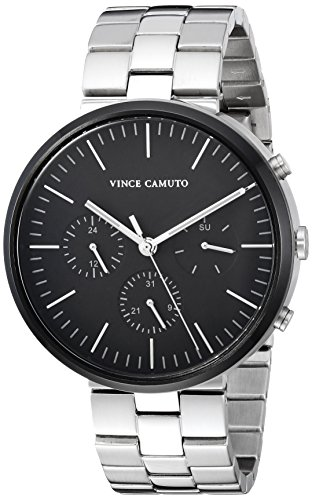 Vince Camuto Men's Quartz Stainless Steel Dress Watch, Color:Silver-Toned (Model: VC/1098BKSV)