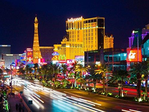 1art1 93880 Las Vegas - Hollywood, Paris Und Eiffelturm In Las Vegas, 4-Teilig Fototapete Poster-Tapete 360 x 255 cm